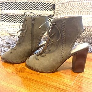 Mix No. 6 Shoes - •Mix No. 6• Olive Green Lace Up Chunky Heel Bootie